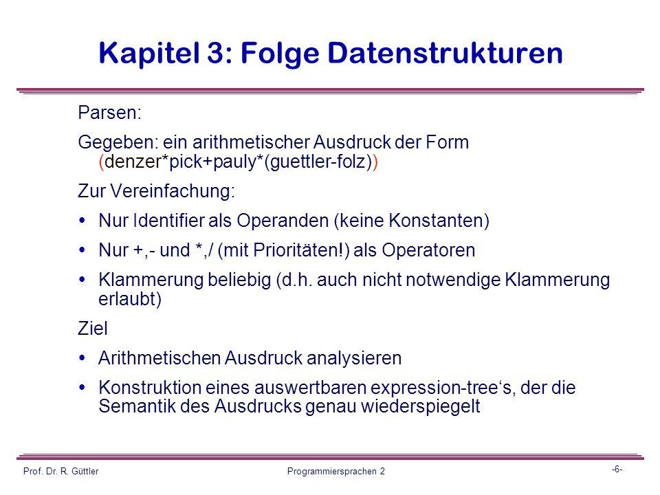 -5- Prof. Dr. R. Güttler Programmiersprachen 2 Kapitel 3: Folge Datenstrukturen Rahmenbedingung: dynamisch (für grössere und kleinere Quellprogramme)