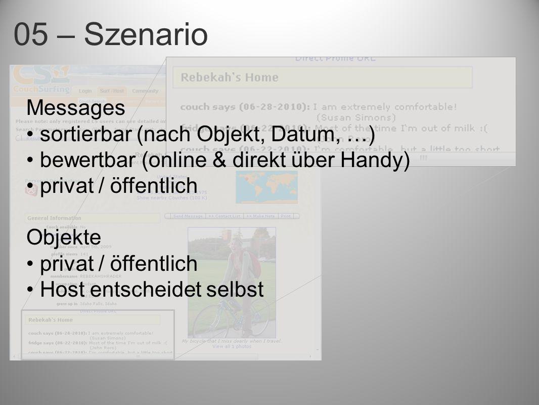 Messages sortierbar (nach Objekt, Datum, …) bewertbar (online & direkt über Handy) privat / öffentlich Objekte privat / öffentlich Host entscheidet selbst