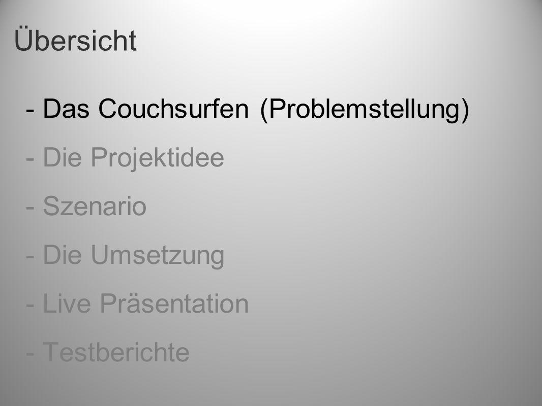 Übersicht - Das Couchsurfen (Problemstellung) - Die Projektidee - Szenario - Die Umsetzung - Live Präsentation - Testberichte