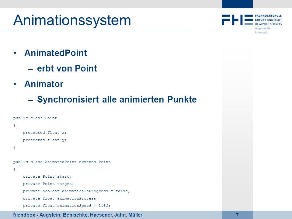 friendbox - Augstein, Benischke, Haesener, Jahn, Müller 7 Animationssystem AnimatedPoint –erbt von Point Animator –Synchronisiert alle animierten Punk