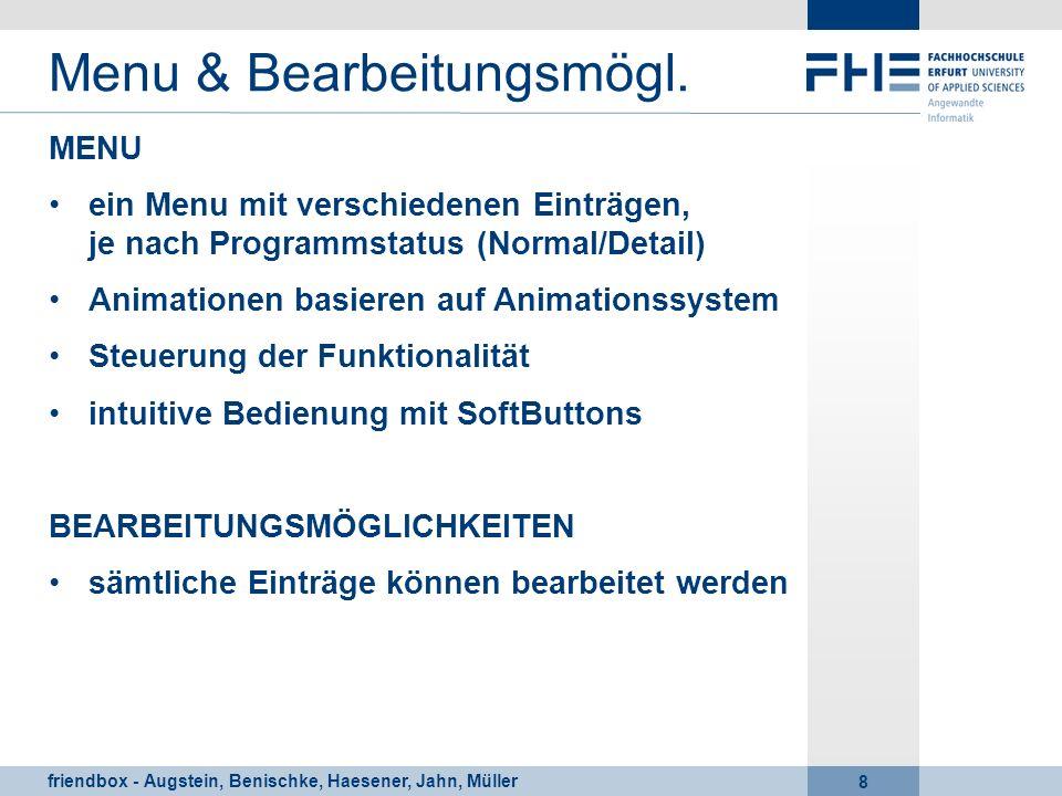 friendbox - Augstein, Benischke, Haesener, Jahn, Müller 8 Menu & Bearbeitungsmögl. MENU ein Menu mit verschiedenen Einträgen, je nach Programmstatus (