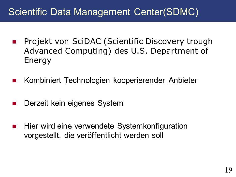 19 Scientific Data Management Center(SDMC) Projekt von SciDAC (Scientific Discovery trough Advanced Computing) des U.S. Department of Energy Kombinier