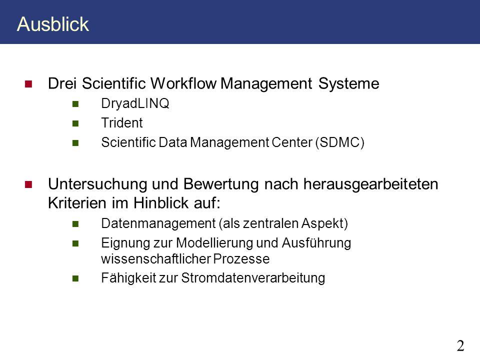 2 Ausblick Drei Scientific Workflow Management Systeme DryadLINQ Trident Scientific Data Management Center (SDMC) Untersuchung und Bewertung nach hera