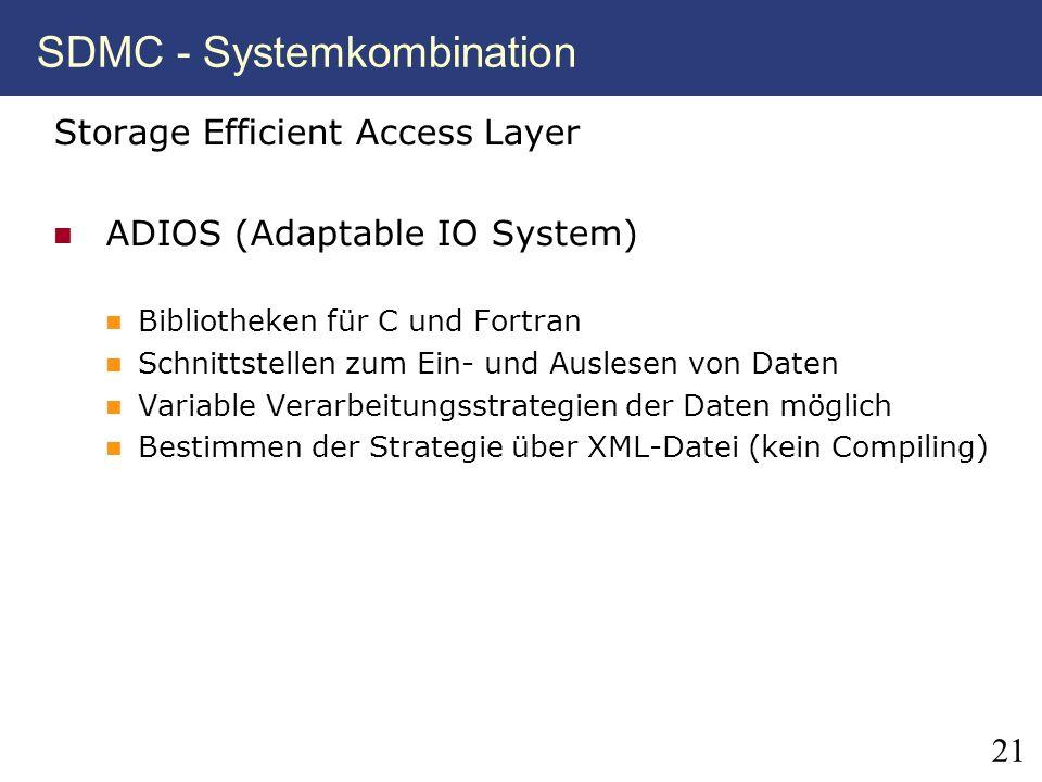 21 SDMC - Systemkombination Storage Efficient Access Layer ADIOS (Adaptable IO System) Bibliotheken für C und Fortran Schnittstellen zum Ein- und Ausl