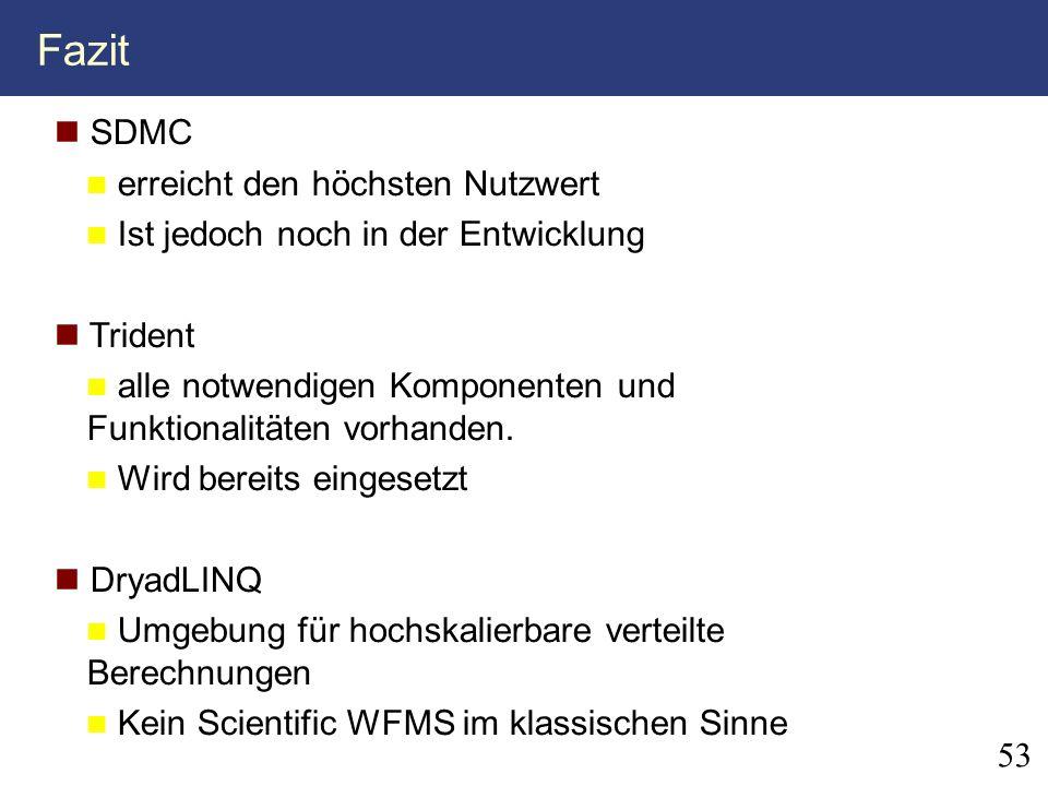 Fazit 53 SDMC erreicht den höchsten Nutzwert Ist jedoch noch in der Entwicklung Trident alle notwendigen Komponenten und Funktionalitäten vorhanden. W
