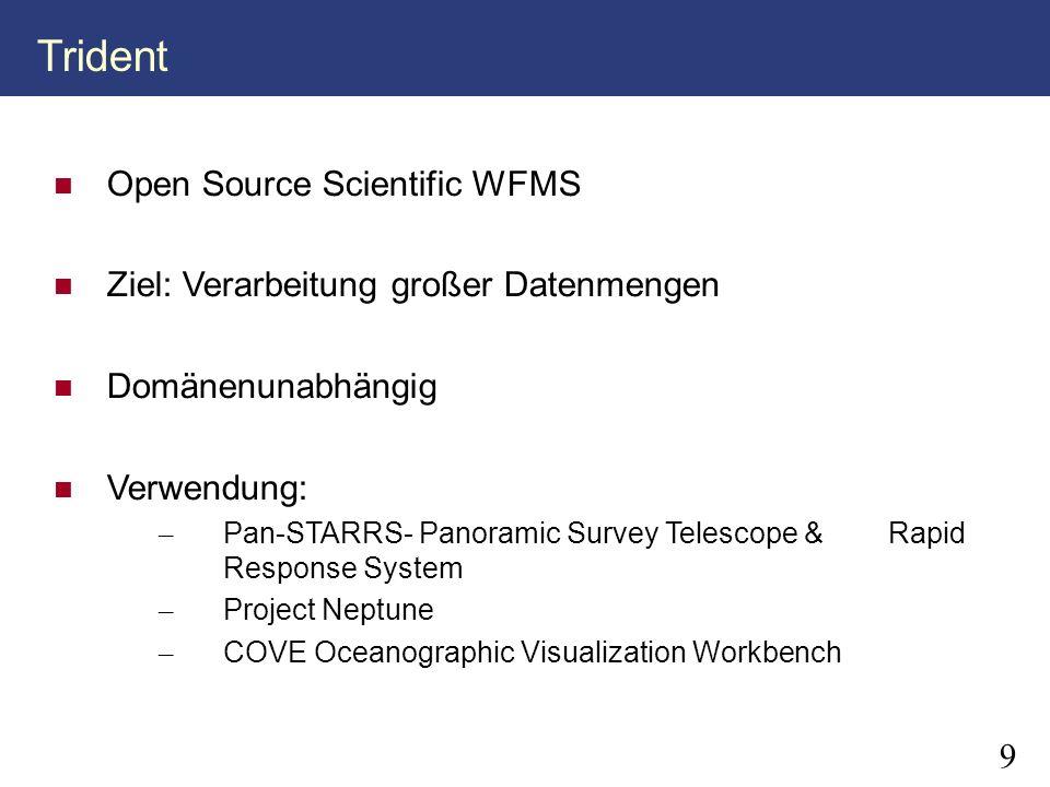 9 Open Source Scientific WFMS Ziel: Verarbeitung großer Datenmengen Domänenunabhängig Verwendung: – Pan-STARRS- Panoramic Survey Telescope & Rapid Res