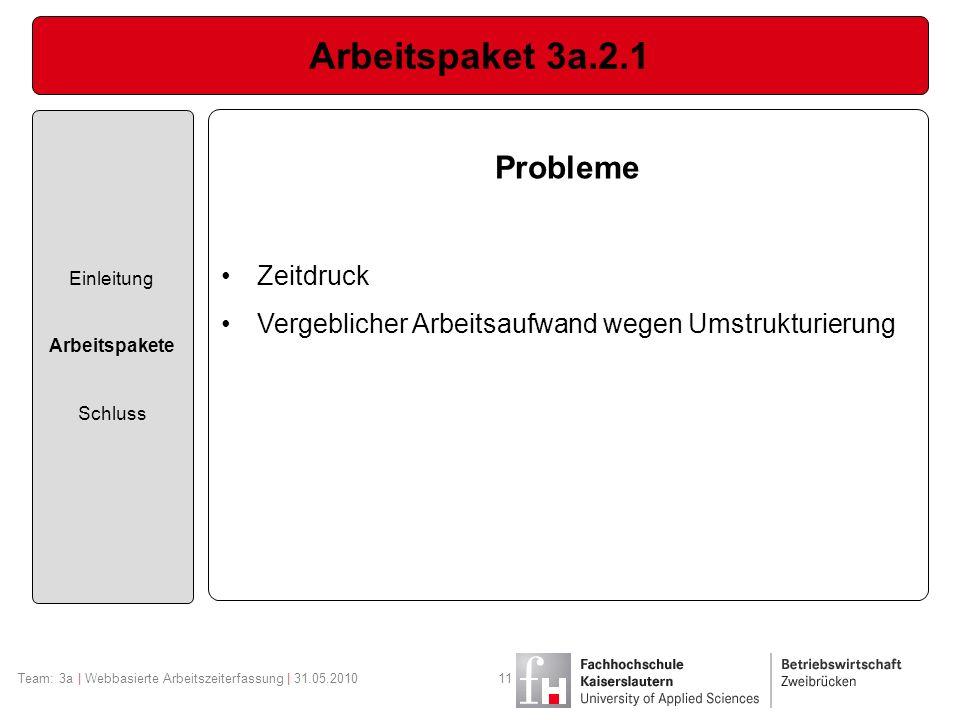 Arbeitspaket 3a.2.1 Einleitung Arbeitspakete Schluss Team: 3a | Webbasierte Arbeitszeiterfassung | 31.05.201011 Probleme Zeitdruck Vergeblicher Arbeit