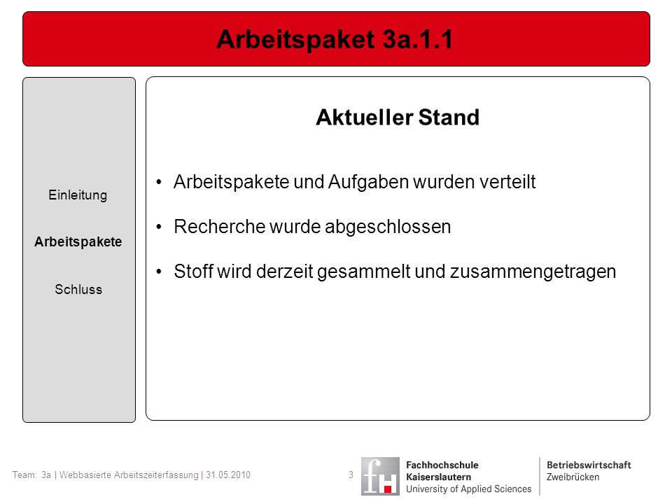 Arbeitspaket 3a.1.1 Einleitung Arbeitspakete Schluss Aktueller Stand Arbeitspakete und Aufgaben wurden verteilt Recherche wurde abgeschlossen Stoff wi