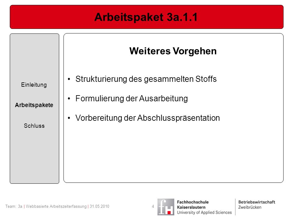 Arbeitspaket 3a.1.1 Einleitung Arbeitspakete Schluss Team: 3a | Webbasierte Arbeitszeiterfassung | 31.05.20104 Weiteres Vorgehen Strukturierung des ge