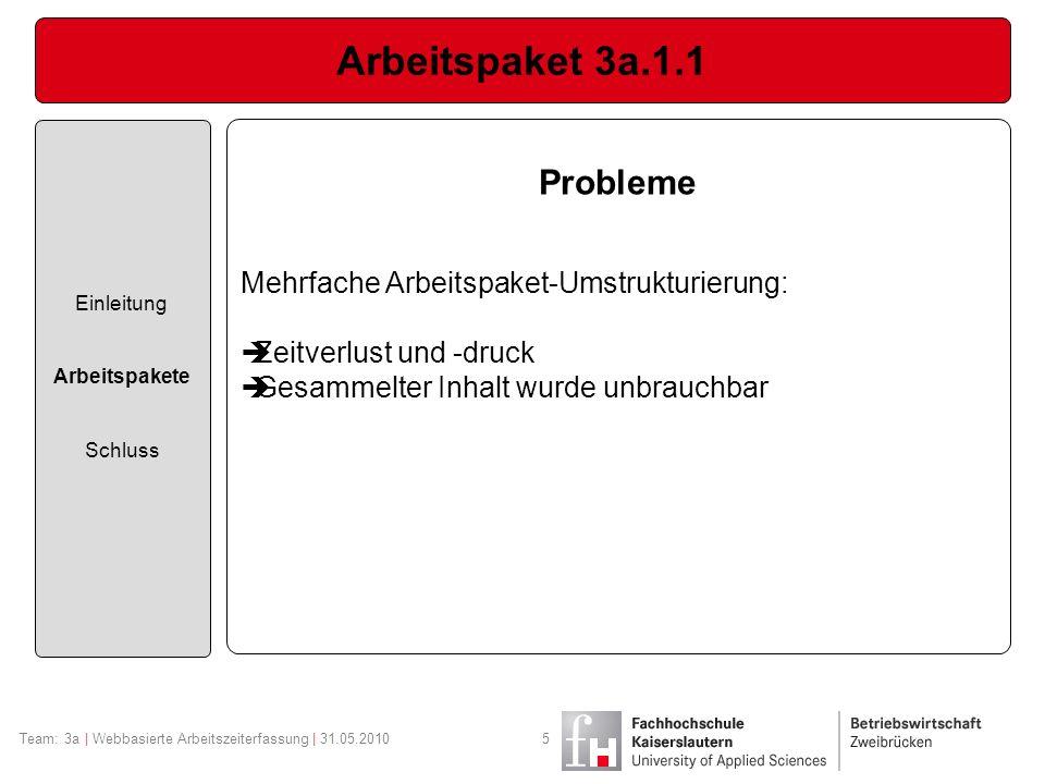 Arbeitspaket 3a.1.1 Einleitung Arbeitspakete Schluss Team: 3a | Webbasierte Arbeitszeiterfassung | 31.05.20105 Probleme Mehrfache Arbeitspaket-Umstruk