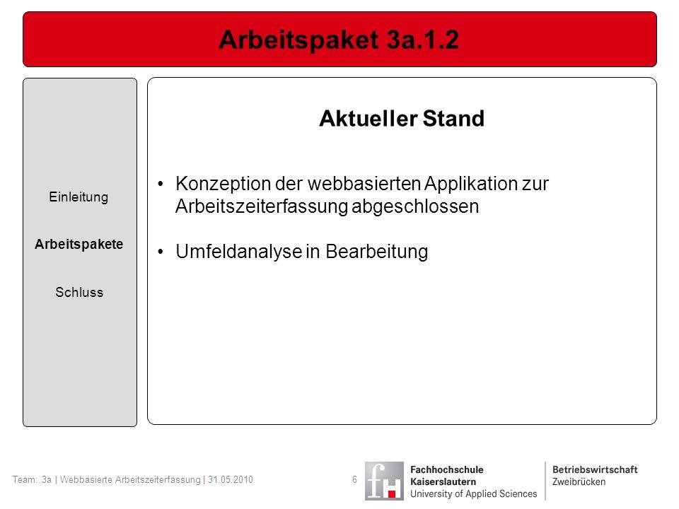 Arbeitspaket 3a.1.2 Einleitung Arbeitspakete Schluss Team: 3a | Webbasierte Arbeitszeiterfassung | 31.05.20106 Aktueller Stand Konzeption der webbasie