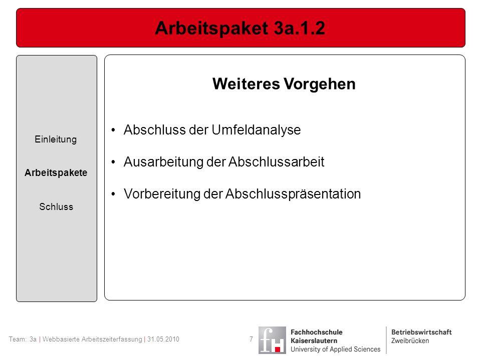 Arbeitspaket 3a.1.2 Einleitung Arbeitspakete Schluss Team: 3a | Webbasierte Arbeitszeiterfassung | 31.05.20107 Weiteres Vorgehen Abschluss der Umfelda