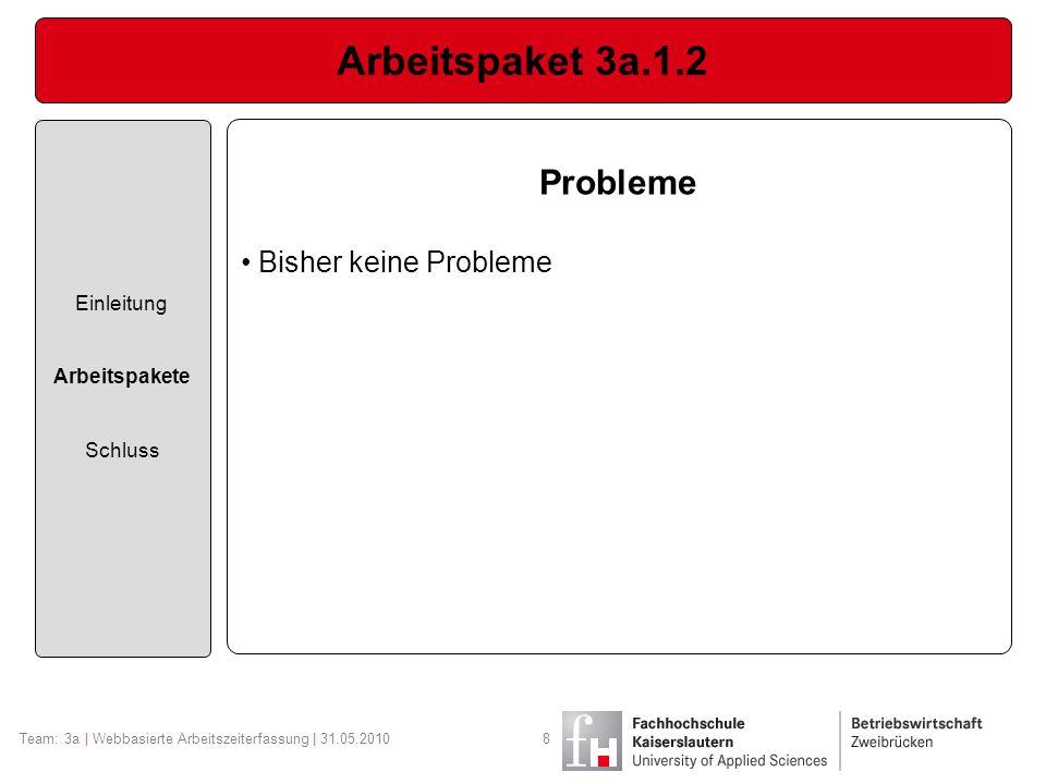 Arbeitspaket 3a.1.2 Einleitung Arbeitspakete Schluss Team: 3a | Webbasierte Arbeitszeiterfassung | 31.05.20108 Probleme Bisher keine Probleme