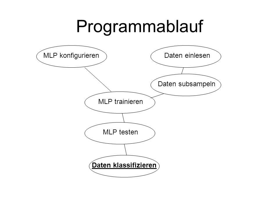Programmablauf MLP konfigurierenDaten einlesen MLP trainieren MLP testen Daten klassifizieren Daten subsampeln