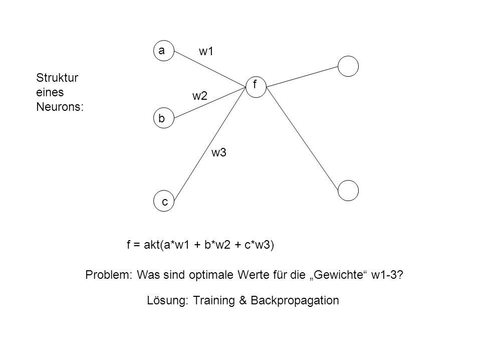 a b c w1 w2 w3 f f = akt(a*w1 + b*w2 + c*w3) Problem: Was sind optimale Werte für die Gewichte w1-3.