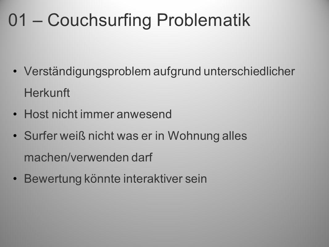 01 – Couchsurfing Problematik Verständigungsproblem aufgrund unterschiedlicher Herkunft Host nicht immer anwesend Surfer weiß nicht was er in Wohnung alles machen/verwenden darf Bewertung könnte interaktiver sein
