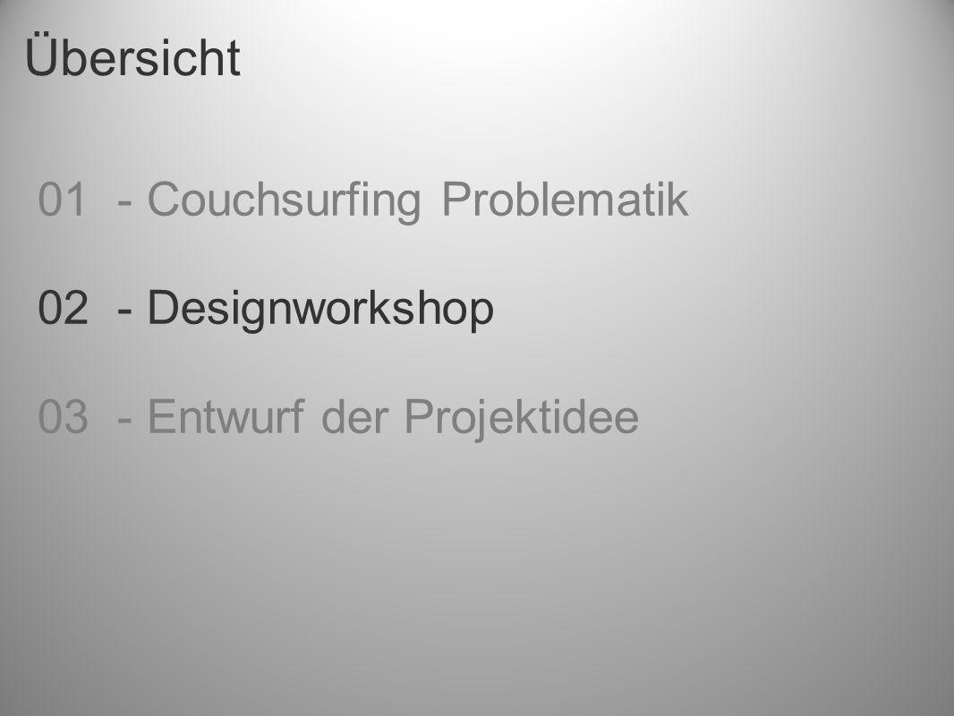 Übersicht 01 - Couchsurfing Problematik 02 - Designworkshop 03 - Entwurf der Projektidee