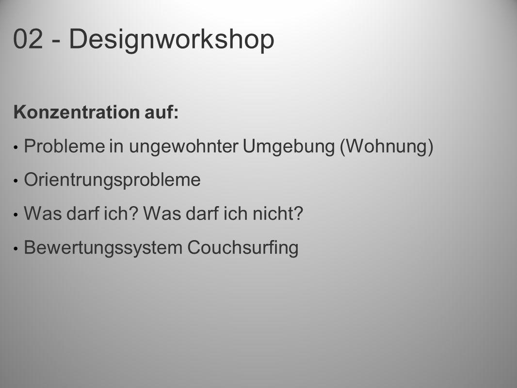02 - Designworkshop Konzentration auf: Probleme in ungewohnter Umgebung (Wohnung) Orientrungsprobleme Was darf ich.