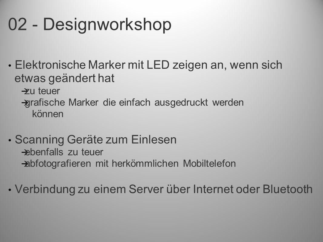 Elektronische Marker mit LED zeigen an, wenn sich etwas geändert hat zu teuer grafische Marker die einfach ausgedruckt werden können Scanning Geräte zum Einlesen ebenfalls zu teuer abfotografieren mit herkömmlichen Mobiltelefon Verbindung zu einem Server über Internet oder Bluetooth
