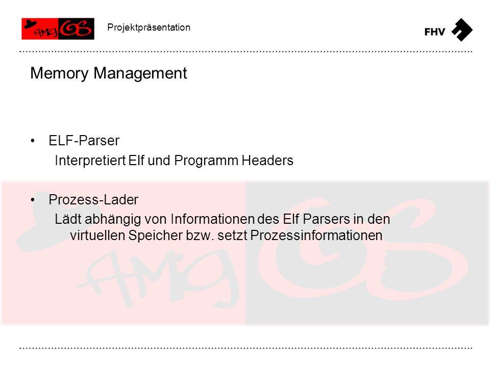 ELF-Parser Interpretiert Elf und Programm Headers Prozess-Lader Lädt abhängig von Informationen des Elf Parsers in den virtuellen Speicher bzw. setzt