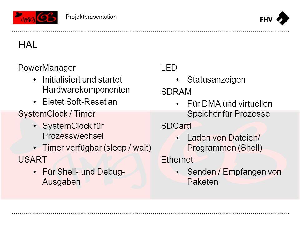PowerManager Initialisiert und startet Hardwarekomponenten Bietet Soft-Reset an SystemClock / Timer SystemClock für Prozesswechsel Timer verfügbar (sl