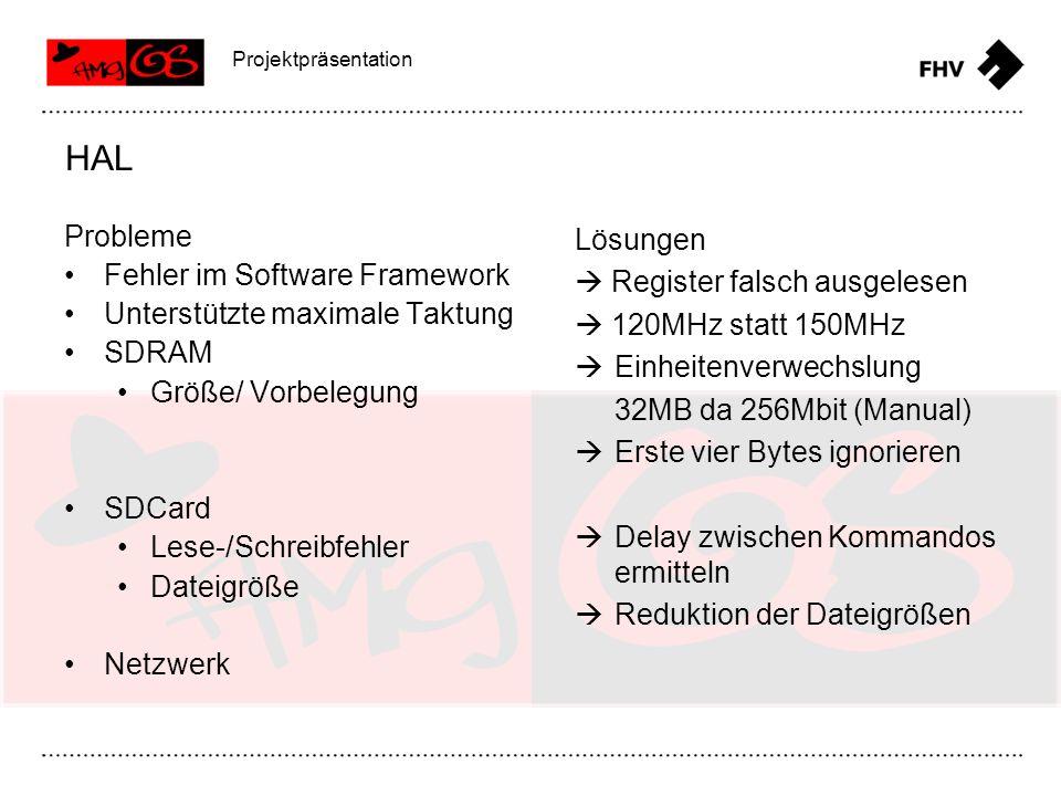 Probleme Fehler im Software Framework Unterstützte maximale Taktung SDRAM Größe/ Vorbelegung SDCard Lese-/Schreibfehler Dateigröße Netzwerk HAL Projek