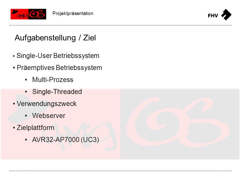 Projektpräsentation Webserver TCP/IP-Stack SD-Karte Remote command line zum Konfigurieren Aufgabenstellung / Ziel