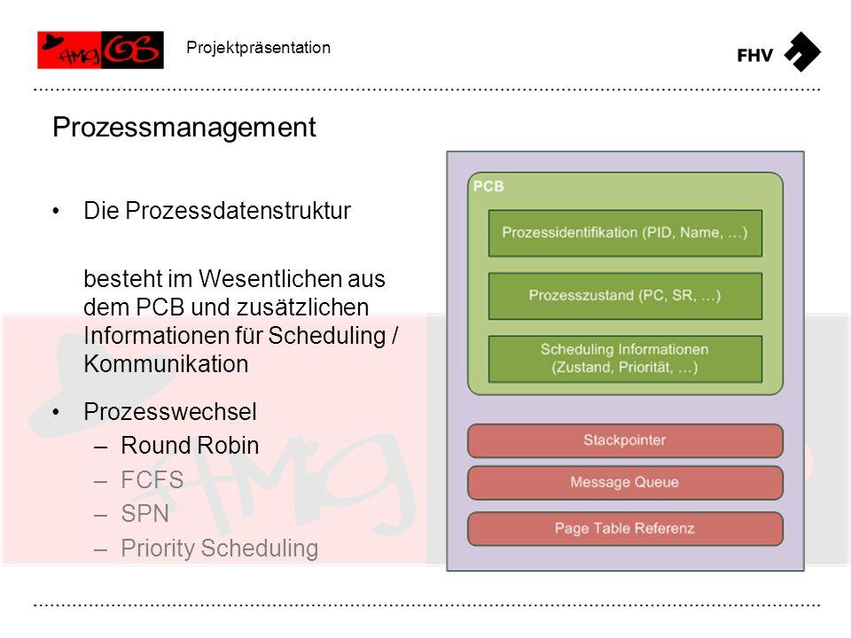 Die Prozessdatenstruktur besteht im Wesentlichen aus dem PCB und zusätzlichen Informationen für Scheduling / Kommunikation Prozessmanagement Projektpr