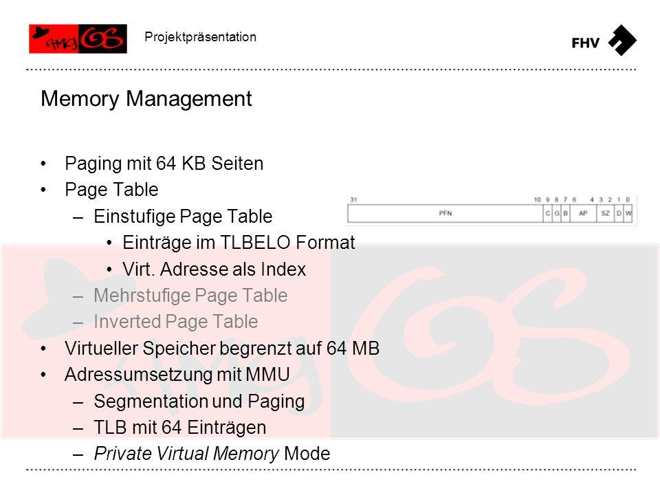 Virtueller Speicher Memory Management Projektpräsentation