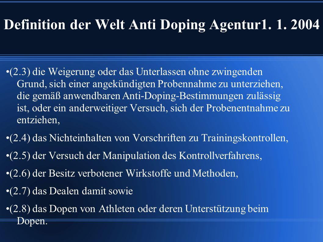 Definition der Welt Anti Doping Agentur1.1.