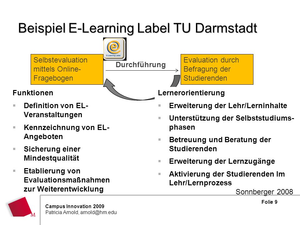 Folie 9 Campus Innovation 2009 Patricia Arnold, arnold@hm.edu Beispiel E-Learning Label TU Darmstadt Funktionen Definition von EL- Veranstaltungen Ken