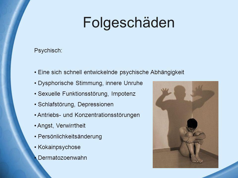 Folgeschäden Psychisch: Eine sich schnell entwickelnde psychische Abhängigkeit Dysphorische Stimmung, innere Unruhe Sexuelle Funktionsstörung, Impoten