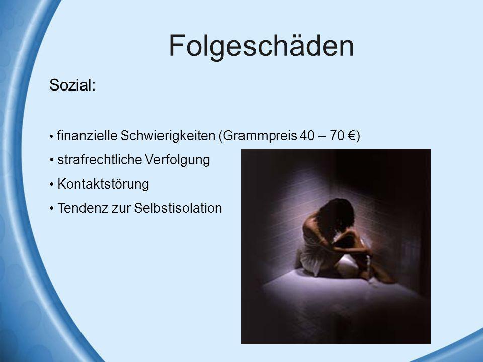 Folgeschäden Sozial: finanzielle Schwierigkeiten (Grammpreis 40 – 70 ) strafrechtliche Verfolgung Kontaktstörung Tendenz zur Selbstisolation