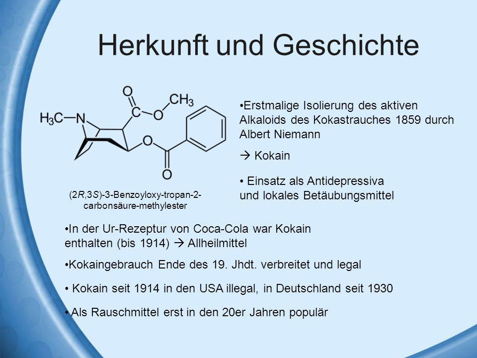 Herkunft und Geschichte Erstmalige Isolierung des aktiven Alkaloids des Kokastrauches 1859 durch Albert Niemann Kokain Einsatz als Antidepressiva und