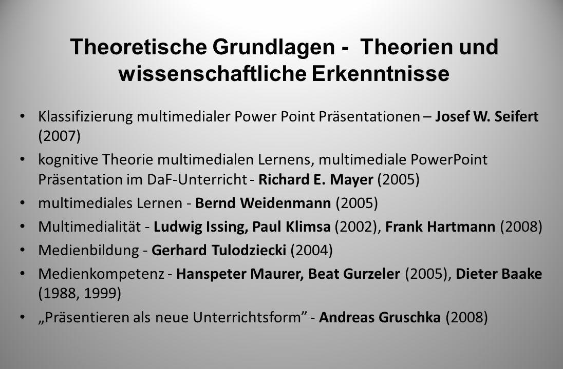 Theoretische Grundlagen - Theorien und wissenschaftliche Erkenntnisse Klassifizierung multimedialer Power Point Präsentationen – Josef W. Seifert (200