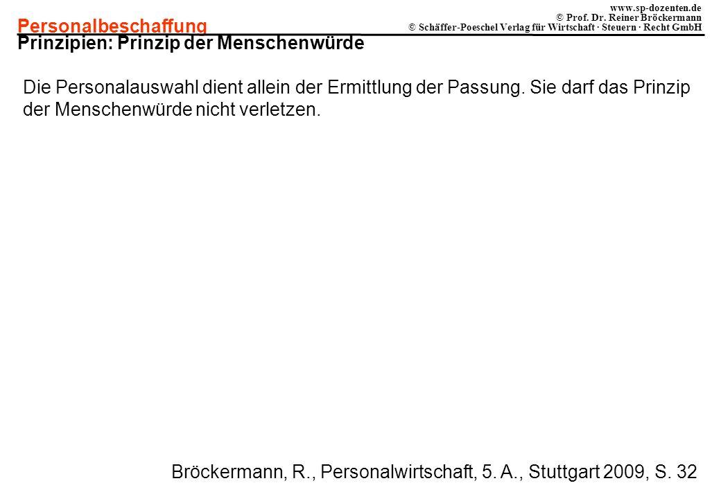 Personalbeschaffung www.sp-dozenten.de © Prof. Dr. Reiner Bröckermann © Schäffer-Poeschel Verlag für Wirtschaft · Steuern · Recht GmbH Prinzipien: Pri
