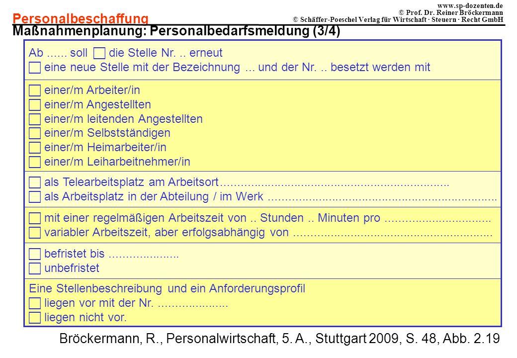 Personalbeschaffung www.sp-dozenten.de © Prof. Dr. Reiner Bröckermann © Schäffer-Poeschel Verlag für Wirtschaft · Steuern · Recht GmbH Ab...... soll d