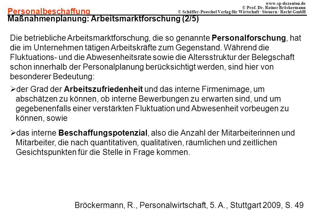 Personalbeschaffung www.sp-dozenten.de © Prof. Dr. Reiner Bröckermann © Schäffer-Poeschel Verlag für Wirtschaft · Steuern · Recht GmbH Maßnahmenplanun