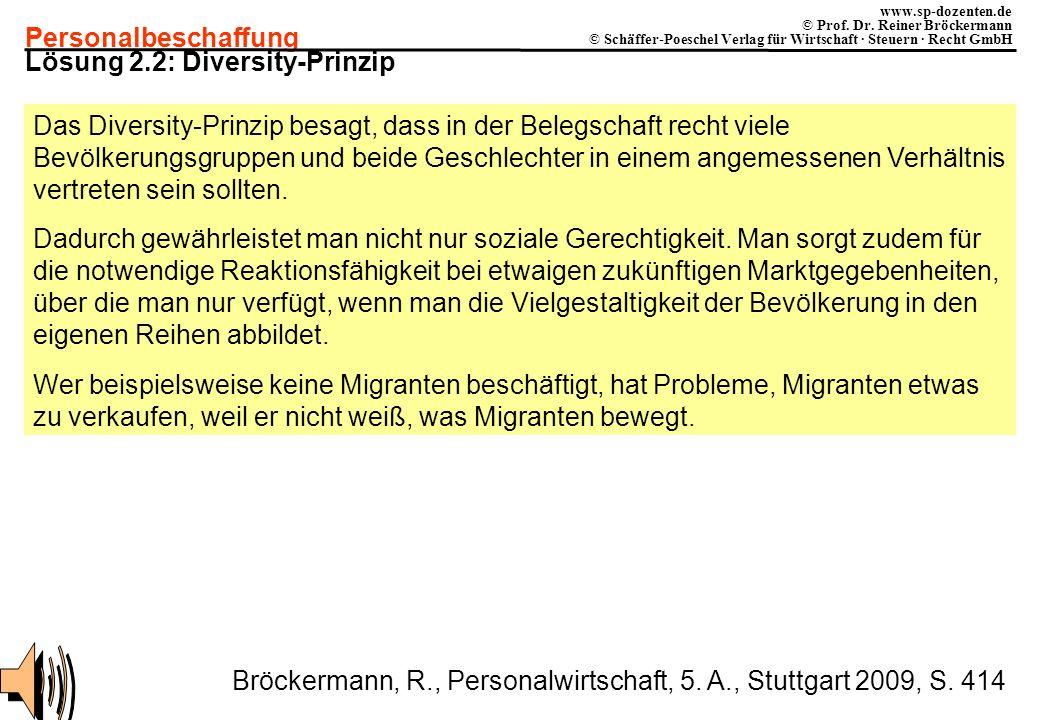 Personalbeschaffung www.sp-dozenten.de © Prof. Dr. Reiner Bröckermann © Schäffer-Poeschel Verlag für Wirtschaft · Steuern · Recht GmbH Lösung 2.2: Div