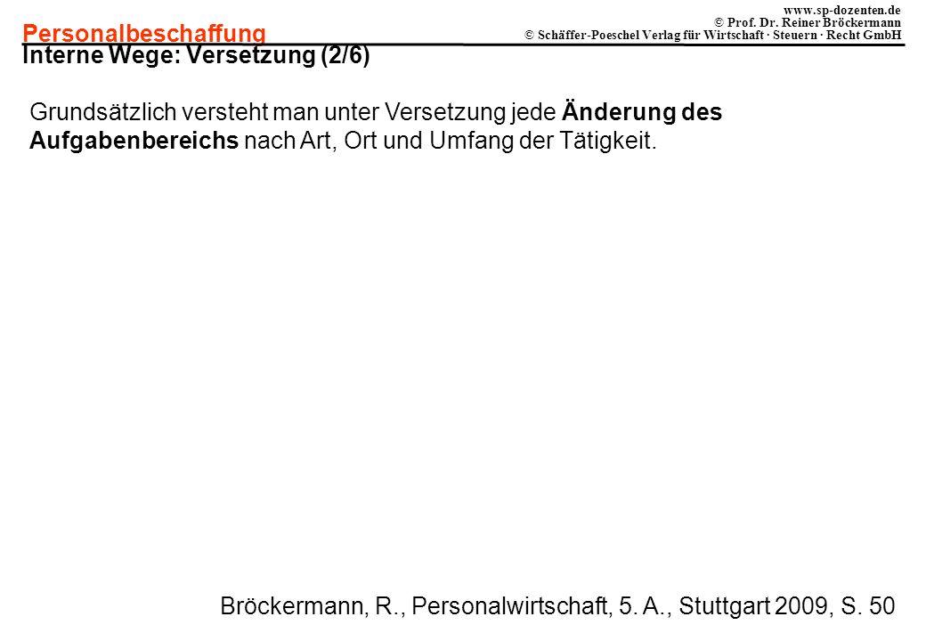 Personalbeschaffung www.sp-dozenten.de © Prof. Dr. Reiner Bröckermann © Schäffer-Poeschel Verlag für Wirtschaft · Steuern · Recht GmbH Interne Wege: V