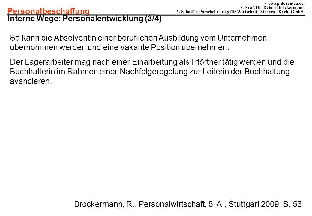 Personalbeschaffung www.sp-dozenten.de © Prof. Dr. Reiner Bröckermann © Schäffer-Poeschel Verlag für Wirtschaft · Steuern · Recht GmbH Interne Wege: P