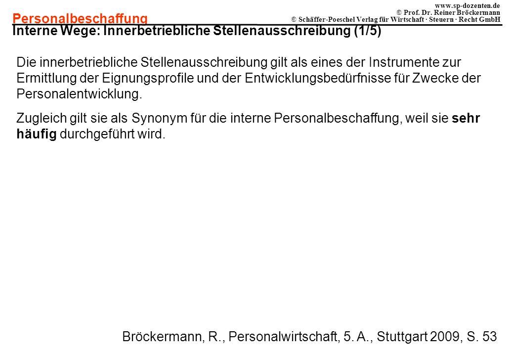 Personalbeschaffung www.sp-dozenten.de © Prof. Dr. Reiner Bröckermann © Schäffer-Poeschel Verlag für Wirtschaft · Steuern · Recht GmbH Interne Wege: I