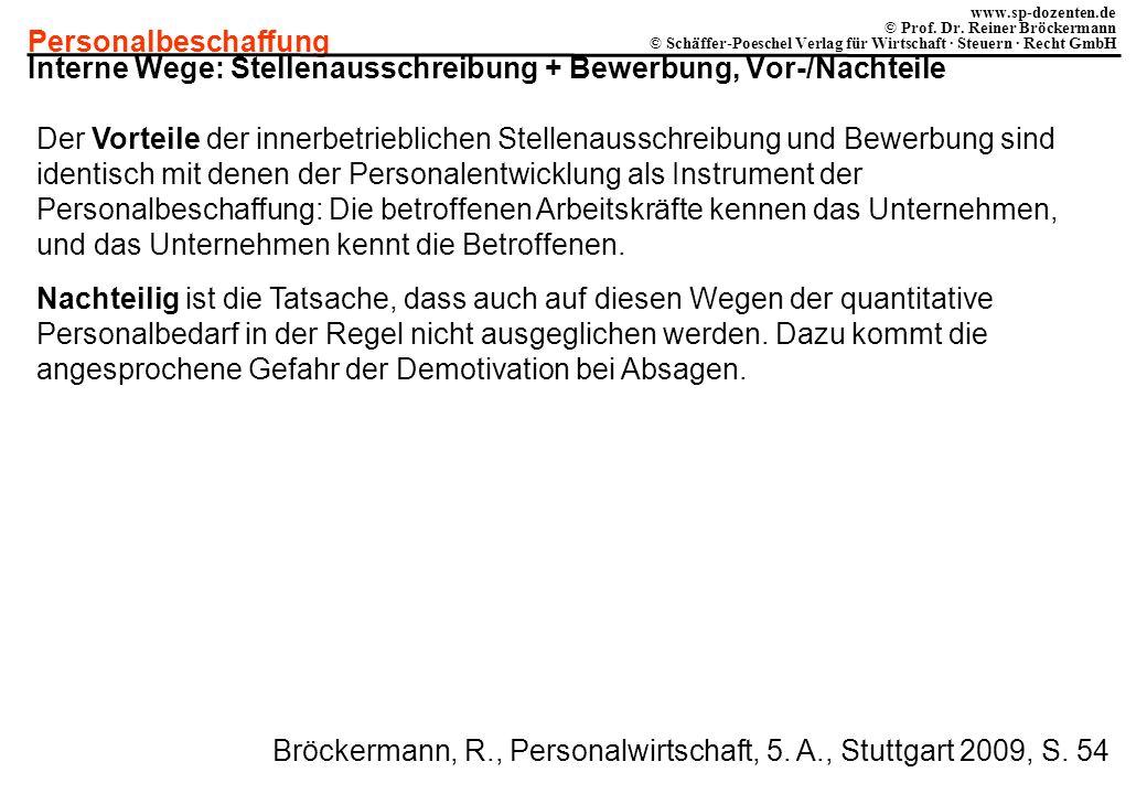 Personalbeschaffung www.sp-dozenten.de © Prof. Dr. Reiner Bröckermann © Schäffer-Poeschel Verlag für Wirtschaft · Steuern · Recht GmbH Interne Wege: S