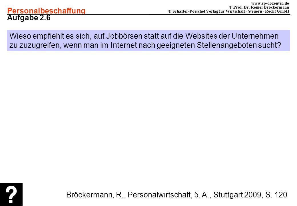Personalbeschaffung www.sp-dozenten.de © Prof. Dr. Reiner Bröckermann © Schäffer-Poeschel Verlag für Wirtschaft · Steuern · Recht GmbH Aufgabe 2.6 Wie
