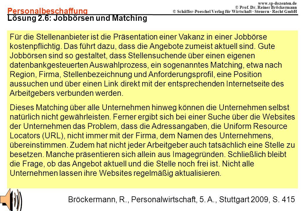 Personalbeschaffung www.sp-dozenten.de © Prof. Dr. Reiner Bröckermann © Schäffer-Poeschel Verlag für Wirtschaft · Steuern · Recht GmbH Lösung 2.6: Job