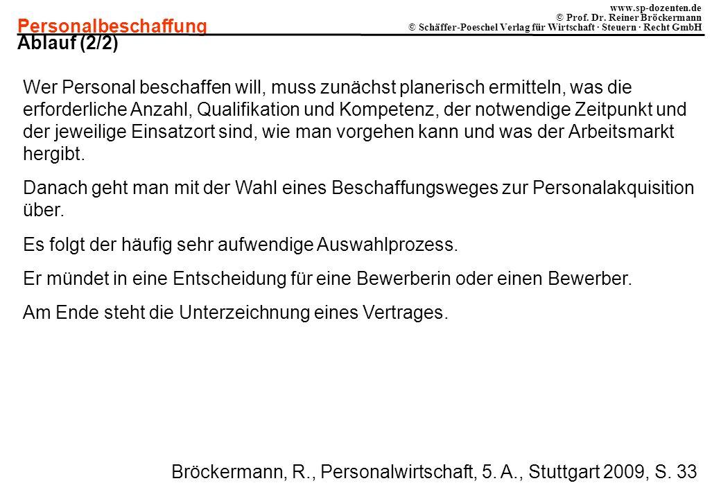 Personalbeschaffung www.sp-dozenten.de © Prof. Dr. Reiner Bröckermann © Schäffer-Poeschel Verlag für Wirtschaft · Steuern · Recht GmbH Ablauf (2/2) We
