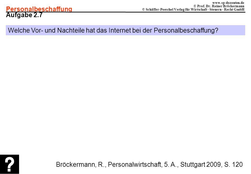 Personalbeschaffung www.sp-dozenten.de © Prof. Dr. Reiner Bröckermann © Schäffer-Poeschel Verlag für Wirtschaft · Steuern · Recht GmbH Aufgabe 2.7 Wel