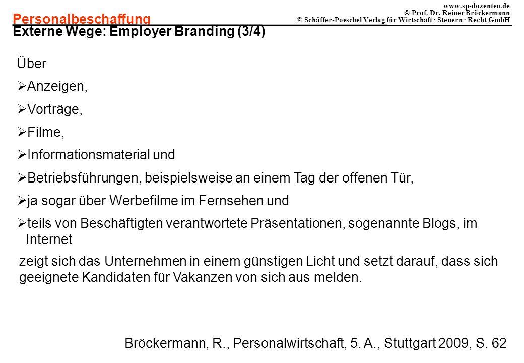 Personalbeschaffung www.sp-dozenten.de © Prof. Dr. Reiner Bröckermann © Schäffer-Poeschel Verlag für Wirtschaft · Steuern · Recht GmbH Externe Wege: E