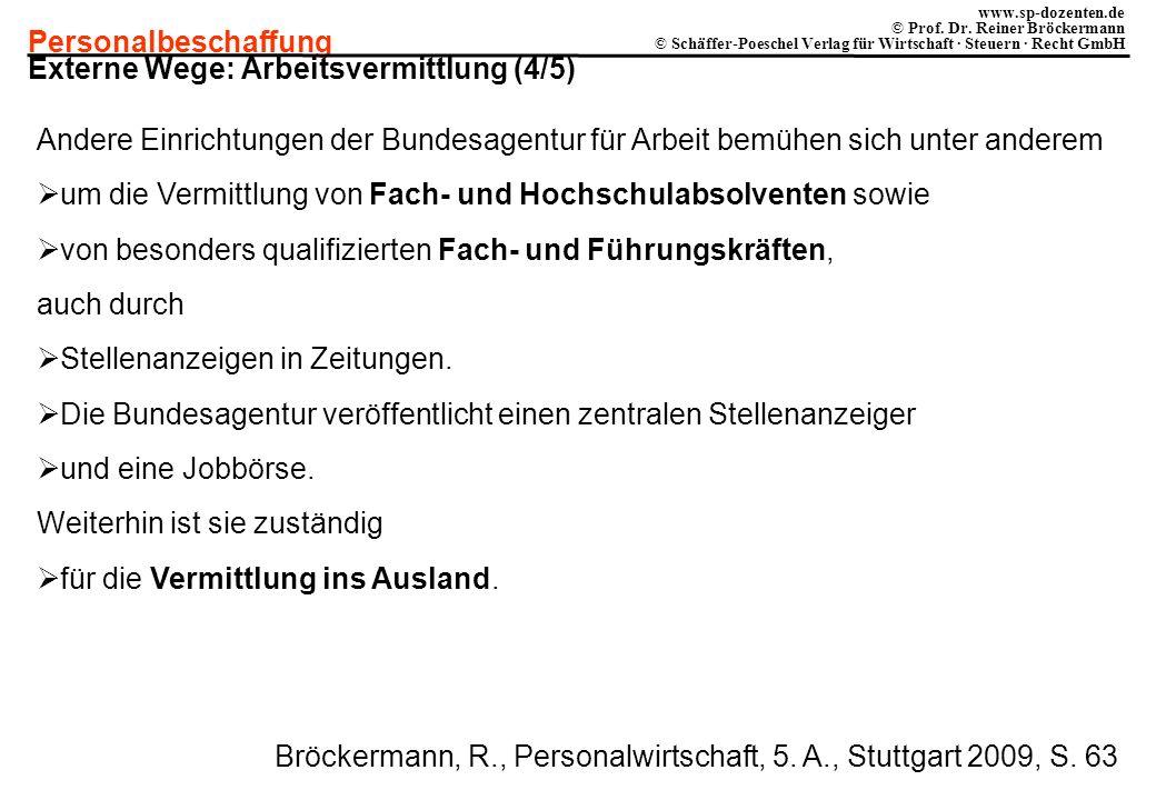 Personalbeschaffung www.sp-dozenten.de © Prof. Dr. Reiner Bröckermann © Schäffer-Poeschel Verlag für Wirtschaft · Steuern · Recht GmbH Externe Wege: A