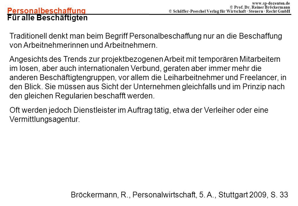 Personalbeschaffung www.sp-dozenten.de © Prof. Dr. Reiner Bröckermann © Schäffer-Poeschel Verlag für Wirtschaft · Steuern · Recht GmbH Für alle Beschä